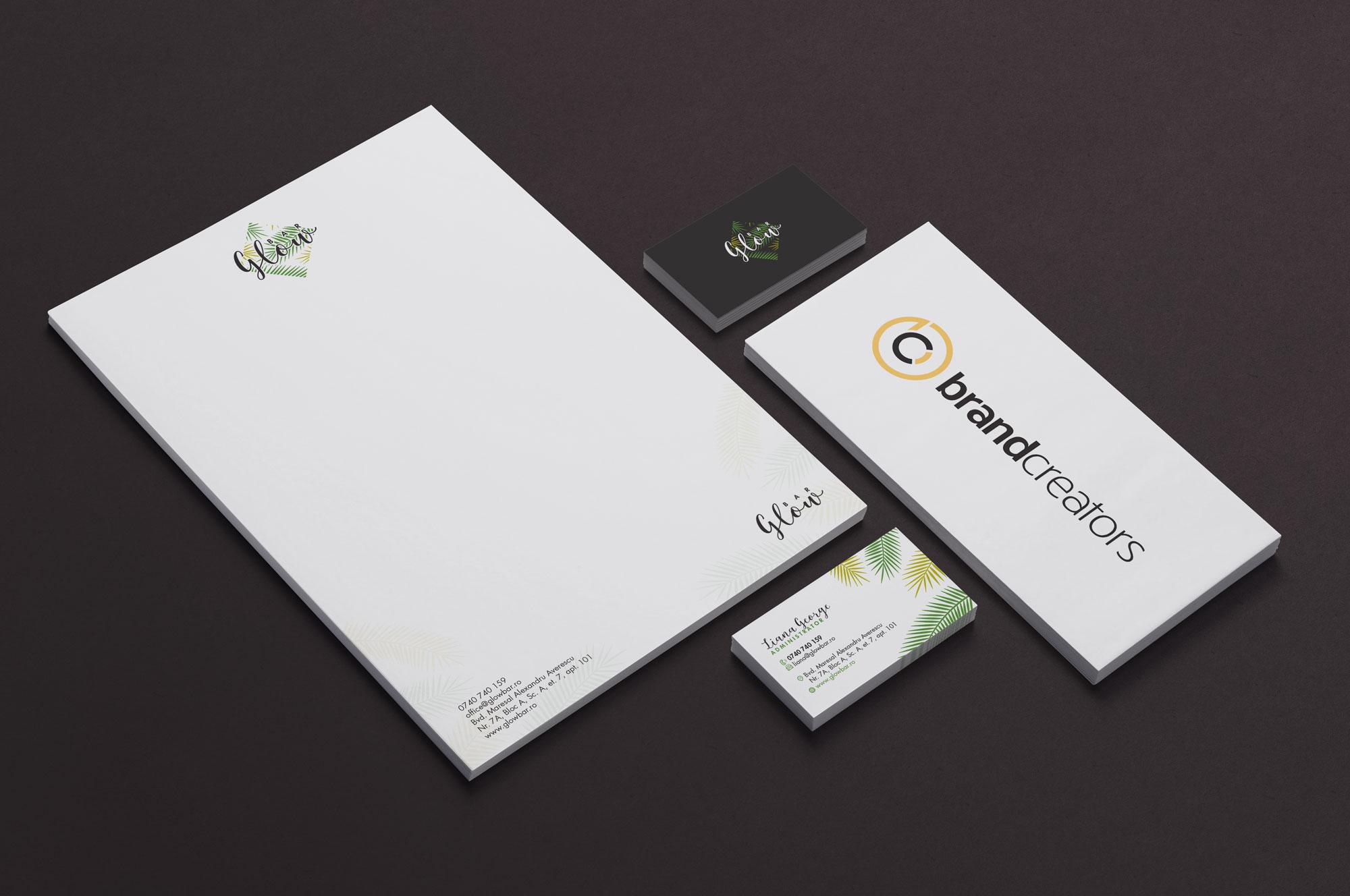 design-carti-vizita-foaie-antet-glow-bar-brandcreators